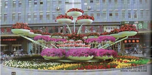 木制花盆(三个一组) 组合灯杆花盆 半圆形组合花盆 半圆形立体组合