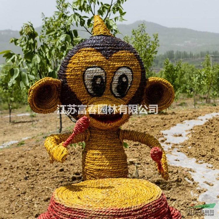 稻草人工艺品手工艺术品干稻草编制艺术优质的草人艺术来图定制