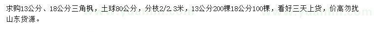 求购13、18公分三角枫