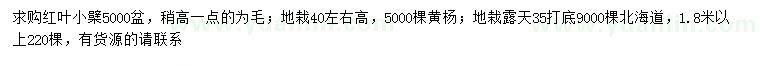 求购红叶小檗、黄杨、北海道黄杨