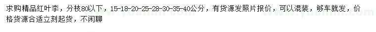 曾道人救世网15-18-20-25-28-30-35-40公分红叶李