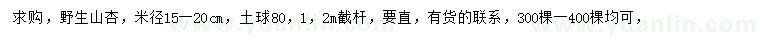 葡京米径15-20公分野生山杏