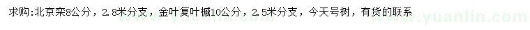 求購8公分北京欒、10公分金葉復葉槭