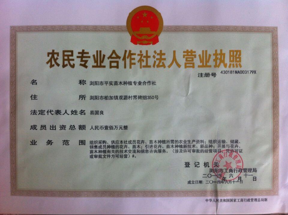 浏阳市平实苗木种植专业合作社